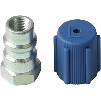 "Early Bus 1 Set Universal Retrofit Valve & Blue Dust Cap Fit 7/16"" Low Side Port -for All Motors Converting from R-12 to R-134A"