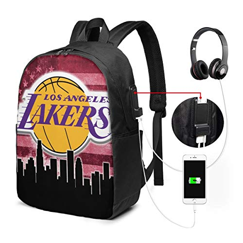 Los Basketball Angeles Lakers USB Backpack 17-Inch Laptop Backpack Crease Resistance Men and Women Outdoor Bag