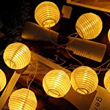 CozyHome LED Lampion Lichterkette außen mit Timer - 7 Meter   Mit Netzstecker NICHT batterie-betrieben   auch für Innen   20 LEDs warm-weiß   Kein lästiges austauschen der Batterien   LED Lampions - 6