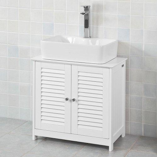 SoBuy® FRG237-W Waschbeckenunterschrank Badschrank Unterschrank in weiß BHT ca: 60x58x34cm 2