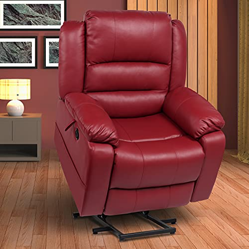 SENYUN Electric Power Lift Recliner Chair Sofa with Massage and Heat for Elderly, Faux Leather Ergonomic Lounge Chair Chair with Side Pockets & Remote Control for Living Room-Red