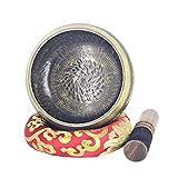 Ouqian Cuenco Tibetano Set de Cuenco Tibetano sánscrito con Cuenco Tibetano, Regalo de mazo y cojín útil for curación del Sonido, Yoga y Terapia de Sonido Meditación de Sonido Tazón