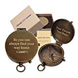 Stanley London Personalized Pocket Compass Gifts Engraved - 6 Designs - for Hiking, Graduation, Baptism, Confirmation, Anniversary, Men, Women, Him, Her, Husband, Dad, Son, Boyfriend (Way Home)
