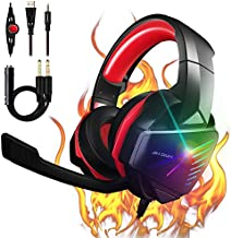 ?2021 Upgrade? 7.1 Stereo Surround Sound with Mic PC Headset 50mm Drivers Noise Canceling Over Ear Headphones PS4 Gaming Headset Xbox One Headset Compatible with Xbox One, Switch, PC, PS3, Mac, Laptop