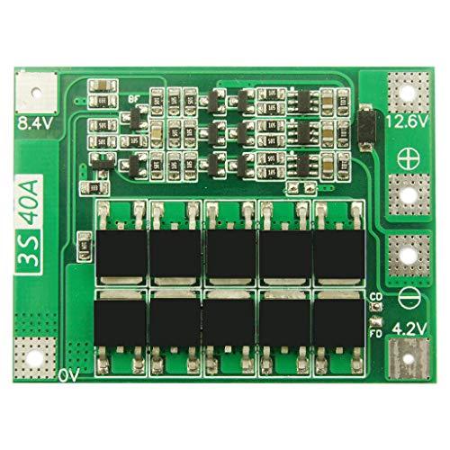 BIlinli 3S 40A Cargador de batería de Litio de Iones de Litio Módulo de celda Lipo Placa de protección BMS PCB para Motor de perforación 12.6V con Equilibrio