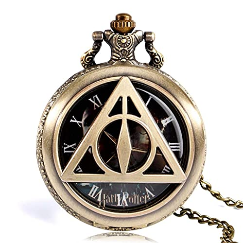 QZH Retro B Triangle The Deathly Hallows Lord Reloj de Bolsillo de Cuarzo analógico Collar Coleccionables para Hombres Mujeres Niños