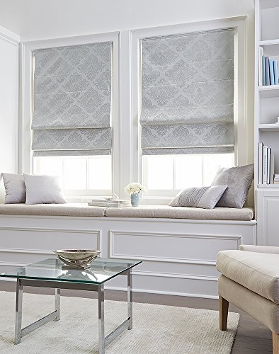 Curtainworks Damask Window Shade, 31' W x 64' L, Silver