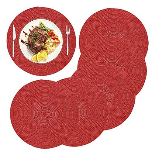 MaoXinTek Manteles Individuales Redondos de Algodón 36cm/14inch Trenzado Antideslizante Salvamanteles Lavables, Alfombrillas de Comedor (Juego de 6)