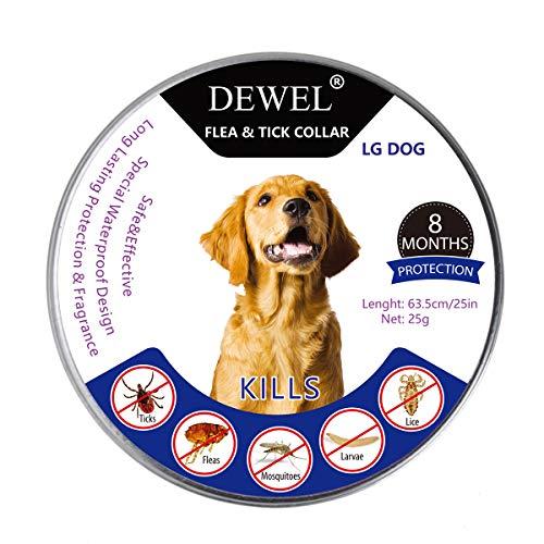 Dewel Collar Antiparasitos Perros/Gatos Contra Pulgas,Garrapatas y Mosquitos,Tamaño Ajustable e Impermeable para...