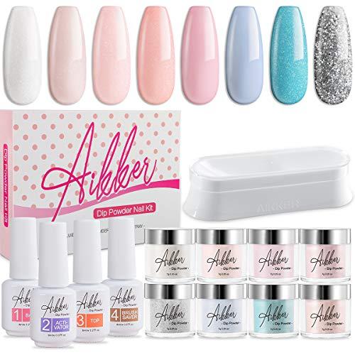 Aikker 13pcs Acrylic Dipping Powder Nail Starter Kit 8 Color Dip Powder - Fresh Set AK11