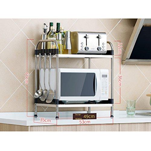 JPVGIA Soporte para horno de microondas de cocina de acero inoxidable 304 de 2 niveles, estante multifuncional para organizador, cuchillo para estante de especias y estante para almacenamiento de horq