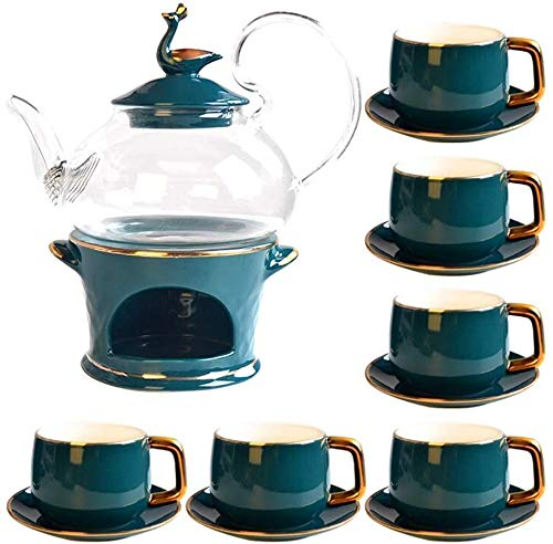 Teteras / Café Conjunto de té de porcelana de cerámica Conjunto de té floral de estilo europeo con calefacción de vela Tetera de cristal Regalos de decoración para el hogar para el hogar de la oficina