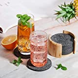 Sidorenko Filz Untersetzer rund für Gläser - 10er Set Ink. Box - Design Glasuntersetzer in dunkelgrau für Getränke, Tassen, Bar, Glas - Premium Tischuntersetzer Filzuntersetzer - 3
