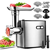 Electric Meat Grinder, CHEFFANO Stainless Steel Meat Mincer Sausage Stuffer, 2000W Max ETL Approved...