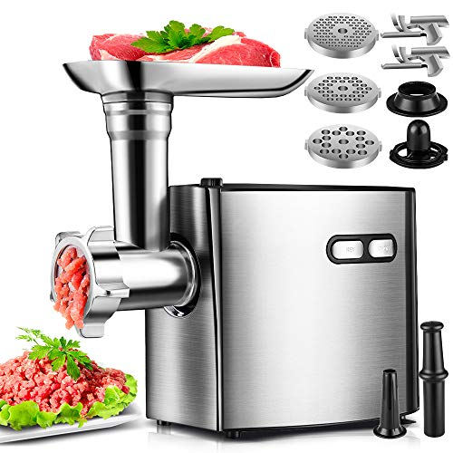 Electric Meat Grinder, cheffano ALTRA Stainless Steel Meat Grinder, Sausage Maker, 2000W Max,with 3 Size Grinding Plates, Sausage & Kubbe Kit Meat Grinders Electric for Home Use