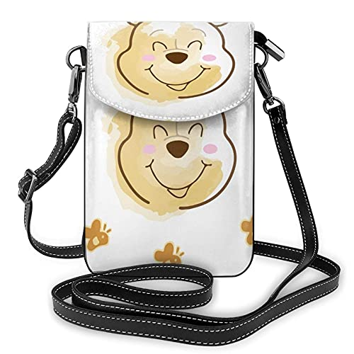 XCNGG Monedero pequeño para teléfono celular Women's Small Crossbody Bag with Shoulder Strap,Winnie The Pooh has a Lovely Smile Small Cell Phone Purse Wallet with Credit Card Slots