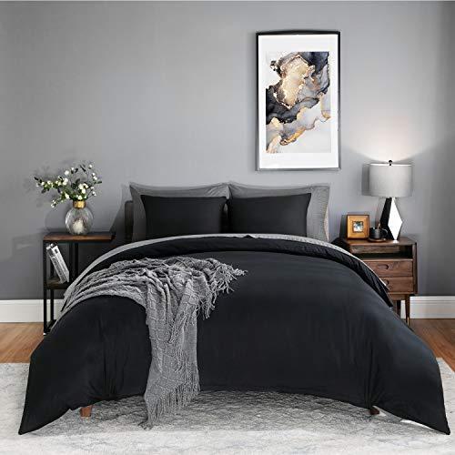 BEDSURE Bettwäsche 200x200 schwarz Mikrofaser- Bettbezug 200x200 cm 3 teilig mit Doppelpack 80x80 cm Kissenbezüge für Doppelbett weich und bügelfrei
