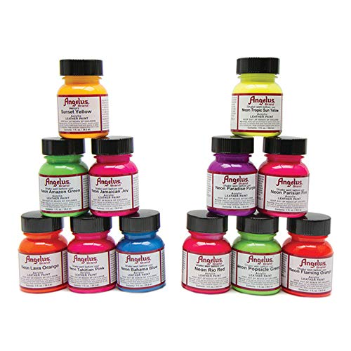Angelus Leather Paint Set of 12 Neons 1oz