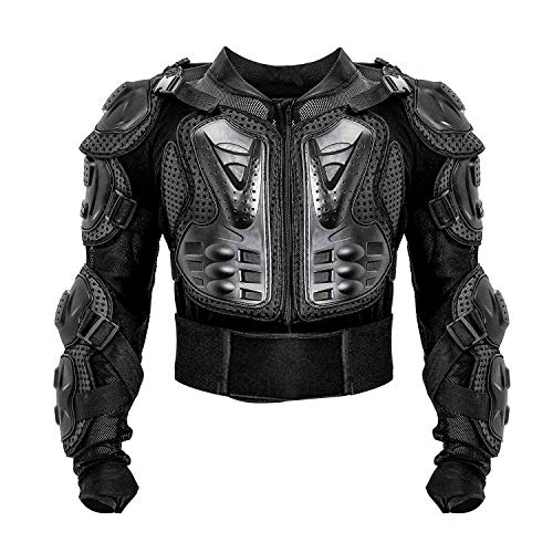 Motorcycle Full Body Armor Protective Jacket ATV Guard Shirt Gear Jacket Armor Pro Street Motocross Protector with Back Protection Men Women for Off-Road Racing Dirt Bike Skiing Skating Black S