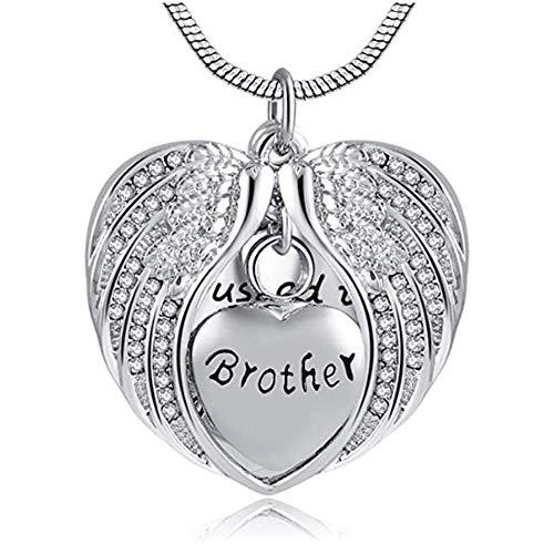 Colgantes para Cenizas Collar de alas de ángel para Cenizas joyería de Recuerdo Conmemorativa de cremación de corazón con Kit de Relleno Urna Cenizas Colgante Memorial