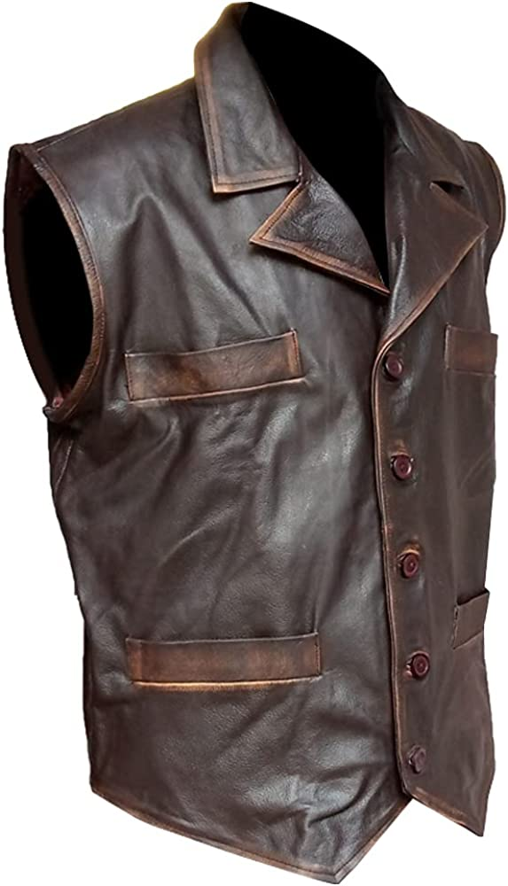 New Style Men Cow Hide Brown Leather Distressed Vest