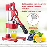 Commercial Citrus Press Fruit Squeezer Press Juicer Manual for Orange Lemon Juicing -Extracts Maximum Juice – Heavy Duty Cast Iron Base and Handle - Non Skid Suction Foot Base