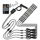 Pryeu 4PCS Interior Car LED Light Strips 8''/20CM RGB Color Changing Waterproof with Music Sync Remote and 12V Lighter Plug for Automotive Inside Ambient Lighting