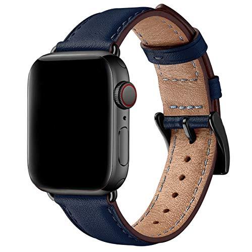 SUNFWR Leder Armband für Apple Watch Armband 44mm 40mm 38mm 42mm, Herren Damen Ersatz Original Lederband für iWatch Serie 6 5 4 3 2 1(42mm 44mm,Dunkelblau/Schwarz)