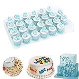 Techson 26 PCS Capital Letter Cookies Cutter, Mini Plastic Alphabet Fondant Cake Biscuit Plunger Mold, Baking Accessories Set (Lowercase Letters)