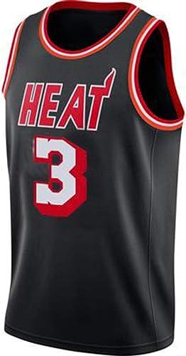 Top Qualité Miami 3 Dwyane Wade Rétro Basketball Jersey Uniformes Sports Chemises De Basket-Ball Cousu Hommes,noir(B)-M