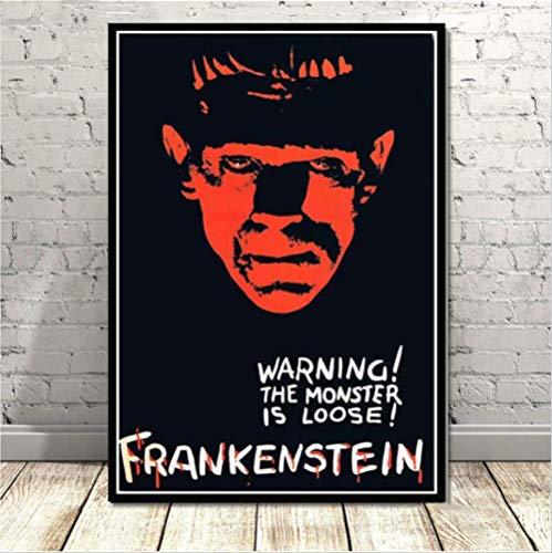 nobrand Frankenstein Universal Monster Horrorfilm Vintage Poster Kunst Leinwand Malerei Wandbilder Wohnzimmer Wohnkultur 50 * 70 cm Kein Rahmen
