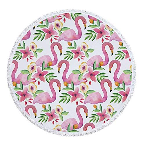 Gbcyp Strandlaken Met Kwast Bloemen Flamingo Gift Bad Douche Handdoek Voor Volwassenen Microfiber Picknick Yoga Mat Deken Tapijt, Patroon 6.150x150cm