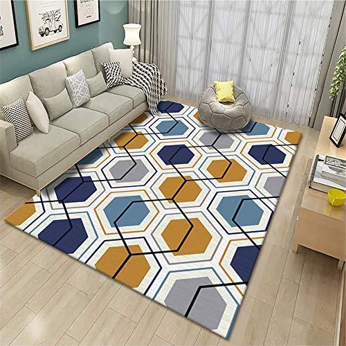 Jiaosa Teppich Für Allergiker Moderner einfacher sechseckiger Wohnzimmer-Heimteppich Teppich Esstisch Kinderzimmer Teppiche gelb 140X200CM