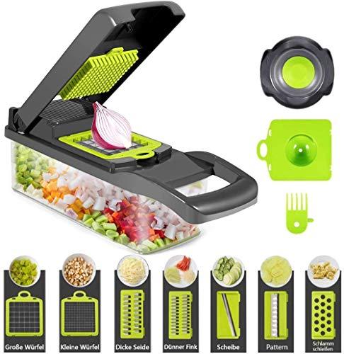 Cortador de verduras Food Chopper Slicer, cortador de alimentos, patatas, frutas y queso, cuchillas multifunción, picadora + 7 accesorios para cortar verduras