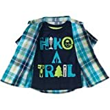 Healthtex Toddler Boy's new size 3T Short Sleeve Plaid Shirt and Graphic Hike a Trail T-Shirt Set