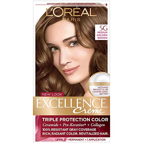 L'Oreal Paris Excellence Creme Permanent Hair Color, 5G Medium Golden Brown, 100 percent Gray Coverage Hair Dye, Pack of 1