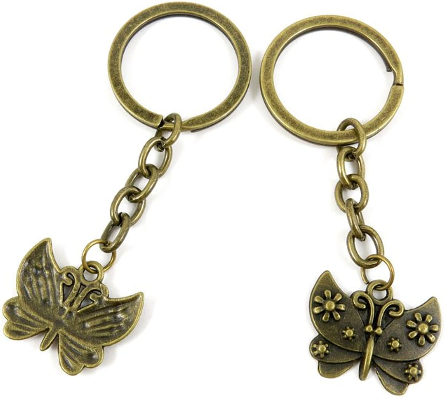 100 PCS Keyrings Keychains Key Ring Chains Tags Jewelry Findings Clasps Buckles Supplies V2SW4 Butterfly