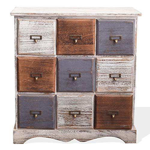 Rebecca Mobili Schubladenkommode 9 Schubladen, Sideboard Weiß, Holz, Shabby Chic, Schlafzimmer Wohnzimmer – Maße: 63 x 60 x 23 cm (HxLxB) - Art. RE4077