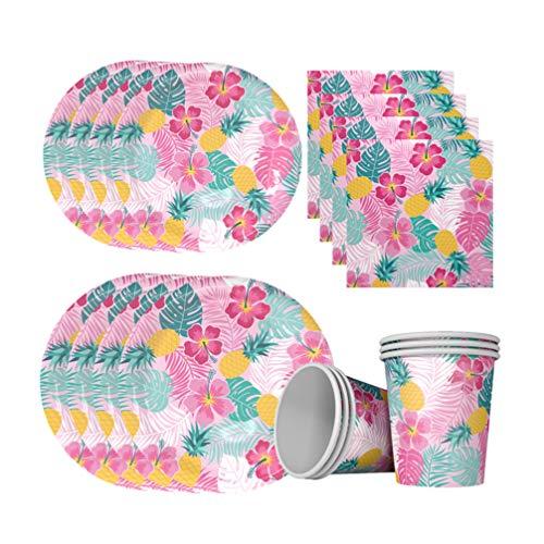 PRETYZOOM 1 Set van 28 stks Wegwerp Papier Dinnerware Ananas Gedrukt Tropische Planten Schotel Bekers Bestek Tissue Decoratief voor Dessert Tafel Hawaii Party