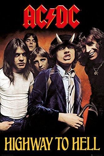 AC/DC - Highway to Hell - Musikposter Heavy Metal Hard Rock AC-DC - Grösse 61x91,5 cm + 1 Ü-Poster der Grösse 61x91,5cm