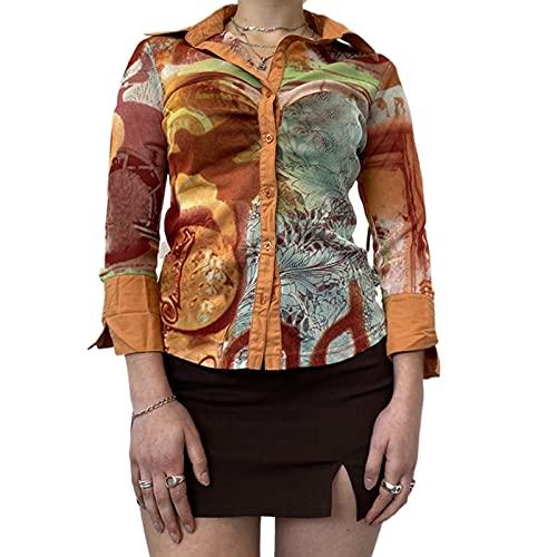 Women Long Sleeve Shirt Button Down Orange Tie Dye Cropped Blouse Shirt Top Y2K E-Girl Streetwear(Q-Orange,L)