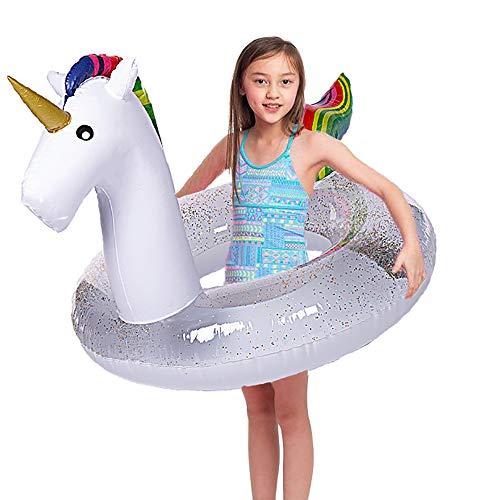 "Wishtime Gigante Gonfiabile Piscina Galleggiante 41 ""Pollici Piscina Galleggiante Unicorno con Glitter all'Interno, Nuotata Innertube per Bambini e Adulti"