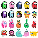 20 Pcs Among Us Cartoon Shoe Charms for Croc Wristband Bracelet with Holes,Clog Pins Accessories Charms for Kids Boys Girls Teens Party Favor Birthday Easter Basket Eggs Gifts