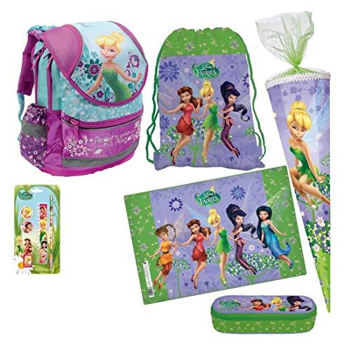 Disney Fairies Tinkerbell FEE ELFE 10 x Teile Set Schulranzen RANZEN Rucksack FEDERMAPPE FEDERTASCHE SCHULTÜTE