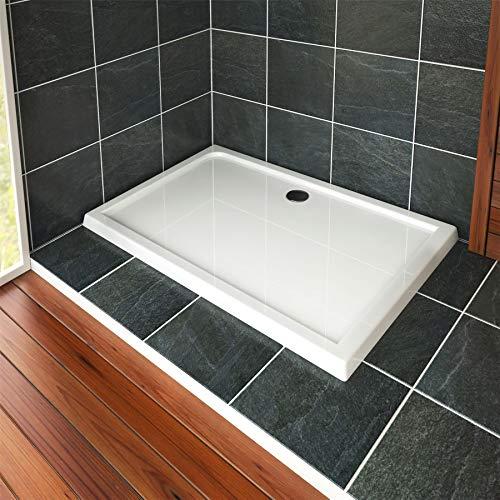 Nuie Bathroom 1600 x 700mm Shower Tray Gloss White Slimline 40mm Stone Resin Rectangular Base with Free Waste Trap Kit