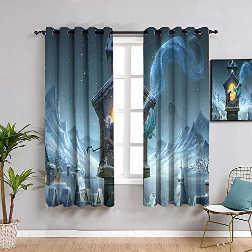 ZhiHdecor Die Eiskönigin Elsa Verdunkelungsvorhänge, 2 Stück, 132 x 157 cm, lichtblockierende Gardinen mit Futter