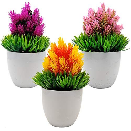 Aisamco 3 Stück künstliche Pflanzen Topf gefälschte Topfpflanzen künstliche Hopfen Blume frische grüne Gras Blume Mini Faux Pflanze mit weißen Töpfen für Home Office Dekoration