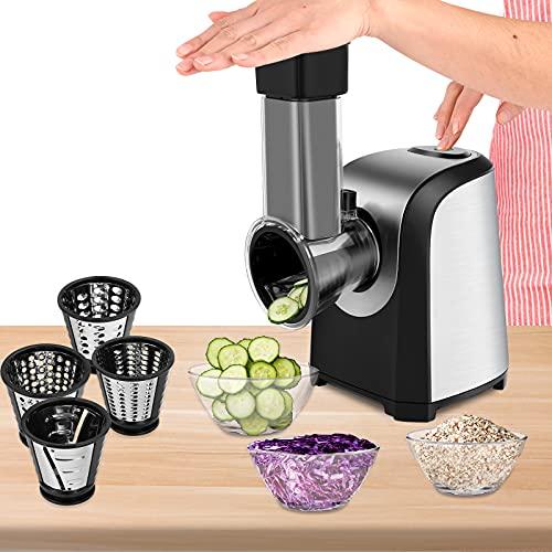 Electric Slicer Shredder Graters Salad Shooter Maker Machine for Fruit Vegetable Cheeses BPA Free 150W (Black)