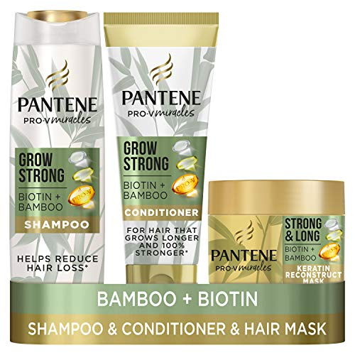 Pantene Grow Strong Shampoo and Conditioner Sets for up to 96% Less Hair Loss with Bamboo and Biotin Hair Growth Shampoo, Hair Conditioner for hair and Keratin Treatment Hair Mask for Dry Damaged Hair