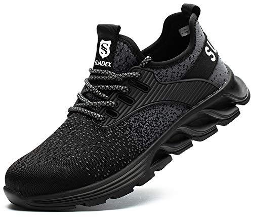 SUADEX おしゃれ 安全靴スニ一カ一 黒 あんぜん靴 ブラック 作業靴スニ一カ一 工事現場 通気性 鋼先芯 ケブラー 耐摩耗 防刺 耐滑 ワークシューズ セーフティーシューズ